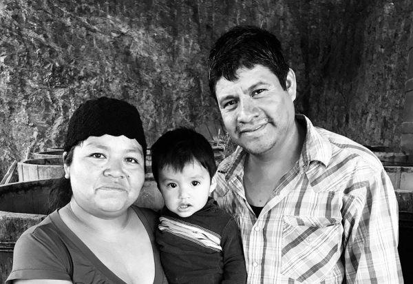 Master mezcalero Silverio García Luis, his wife Epifania Gomez Mejia, and their youngest son, at their home in Rancho Blanco Güilá, Oaxaca.